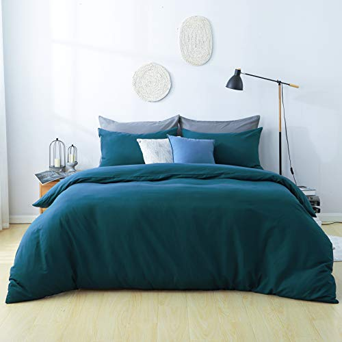 RUIKASI Duvet Cover Double 3 PCS Non-Iron Zip Fastening bedding Set Double Bed with Smooth Velvet Feeling Fluffy and Warm for Winter Sleeping(3PC Double, Dark Green)