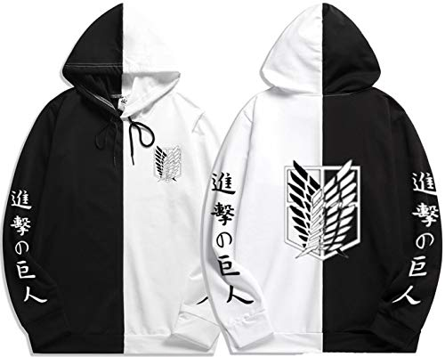 Women's Attack on Titan Hoodie Cosplay Anime Scouting Legion Hooded Sweatshirt Jumper Two Color For Unisex (XXL,Black-Wing)