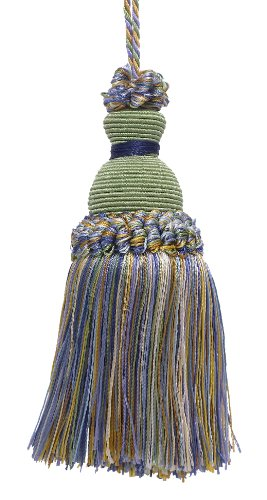 DÉCOPRO Decorative 5 inch Key Tassel, Green, Gold, Blue Imperial II Collecion Style# IKTJ Color: Mountain Spring - 4668