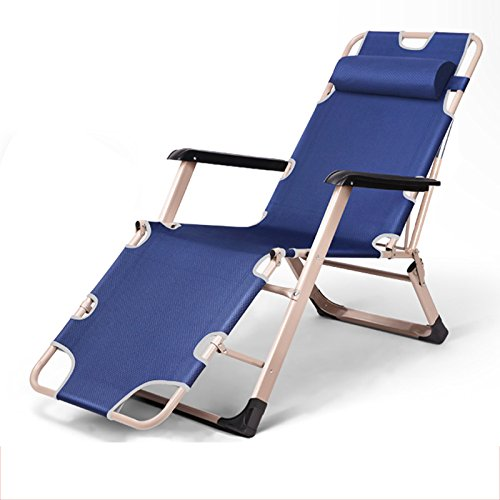 LHA Lit Pliant Inclinable Pliant Déjeuner Lit Siesta Chaise Bureau Lit Simple Simple Plage Lit Camp Lit (Couleur : Blue)
