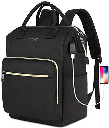15 Laptop Backpack for Women, RFID Anti-Theft Business Travel Backpack with USB Charging Port, Water Resistant Slim College School Computer Bag for Girls Boys Men, Black