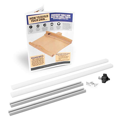 Fulton DIY Table Saw Crosscut Sled Kit with 2 UHMW Bars 2 Aluminum Tracks 1 Knob and 1 Bolt along with Full Color HOW TO BUILD YOUR OWN Crosscut Sled Guide Booklet
