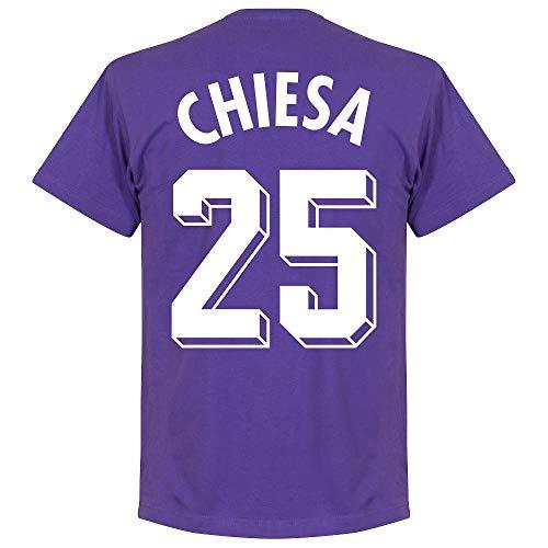 Retake Fiorentina Chiesa 25 Team T-Shirt - Viola, Unisex - Adulto, Raissa metallizzate, Large
