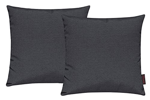 Fino Kissenhülle ca. 40 x 40 cm hochwertig & knitterarm Farbe 07 Anthrazit (2er Set)
