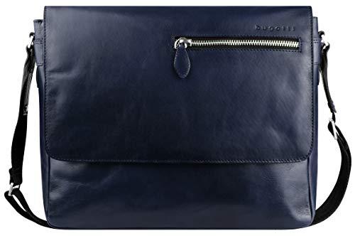 """Bugatti Domus Leder Messenger Bag Umhängetasche für Damen und Herren mit 13"""" Laptopfach, Kuriertasche Schultertasche Herrentasche, Blau"""