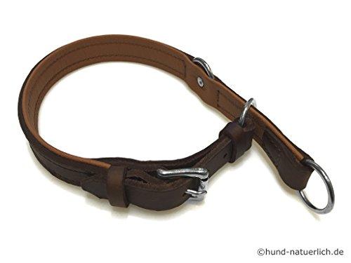 hund-natuerlich Zugstopp Lederhalsband für Hunde Braun, Chrom Gr. 45