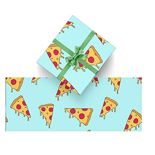 CUXWEOT Gift Wrapping Paper Cute Cartoon Pizza for Christmas,Birthday,Holiday,Wedding,Gifts Packing - 3Rolls - 58 x 23inch Per Roll
