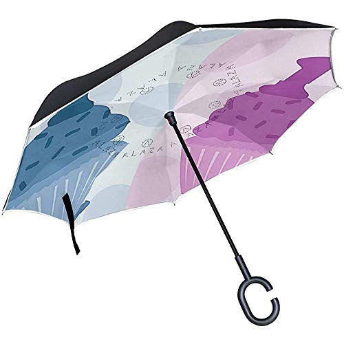 mengmeng Reverse Umbrella, First Birthday Inverted Night Reflective Edge Golfschirme, Double Layered Canopy
