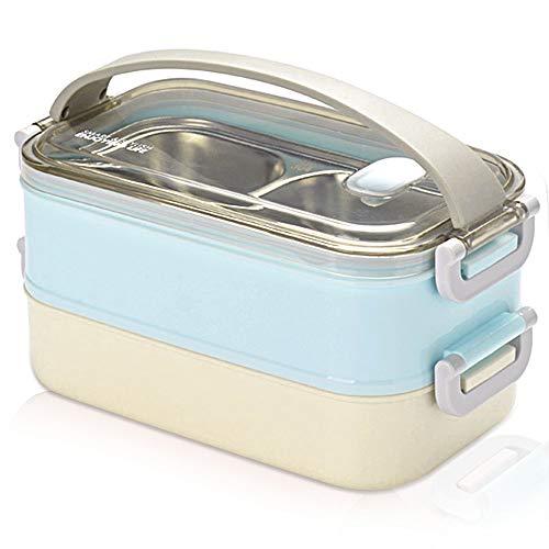 Gresunny Lunchbox Edelstahl stapelbar isolierte zweischichtige brotdosen auslaufsicher brotzeitbox Lunchbox behälter tragbare Thermo bento-Box lebensmittelbehälter für Schule Arbeit 1.6 Blau