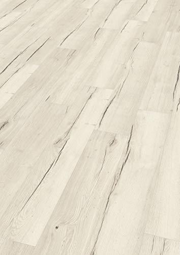 EGGER Home Aqua+ Laminat weiß Holzoptik - Creston Eiche weiss EHL105 (8mm, 1,994 m²) Laminatboden wasserfest - Feuchtraum geeignet
