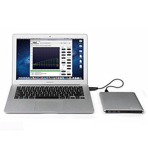 SALCAR USB 3.0 DVD Laufwerk Aluminium für Apple MacBook, MacBook Pro, MacBook Air, iMac Externer DVD/CD Brenner DVD RW für Notebook/PC unter Windows und Mac OS – Silber