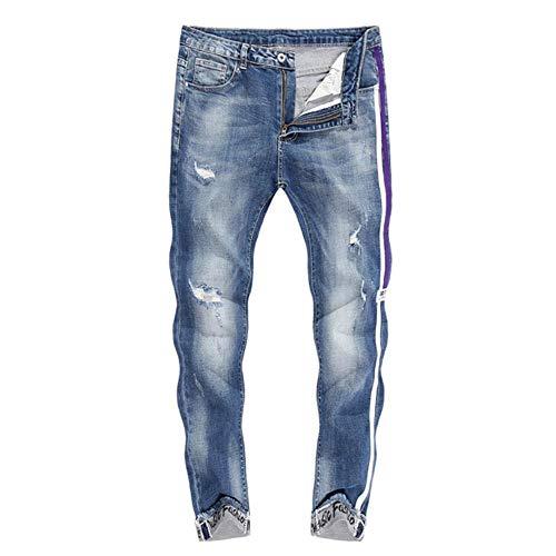 YANGPP Jeans Skinny Hommes Pantacourt Déchiré Extensible Longueur Bleu Poignets À Rayures Latérales Jeans Décontractés Hiphop Jeans en Détresse, Bleu, 29
