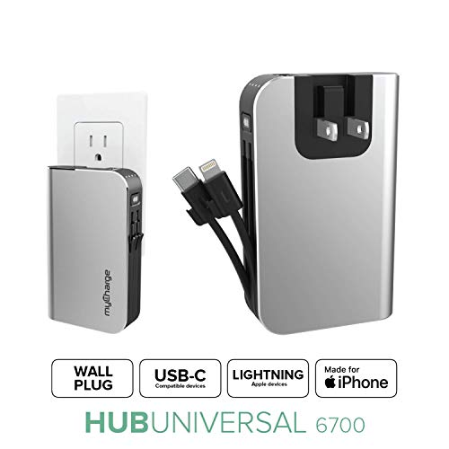 myCharge Portable Charger Power Bank  HubPlus 6700 mAh Universal External Battery Pack | Foldable AC Wall Plug | Two Built in Cables for Apple iPhone Lightning amp for Samsung USB Type C Android