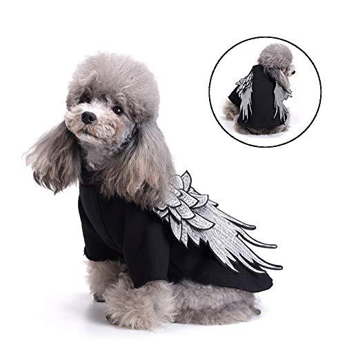 Hondenkleding Hondenkleding Borduren Vleugels Trui Herfstkattentrui, warme truien Kleding Katoenen jas voor puppy,Black,L