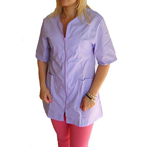 Kittel, Bluse, Arbeitskleidung für Kosmetikerin, Friseuse, Schönheitssalon, Massagesalon, mit Reißverschluss, aus Baumwolle XS violett