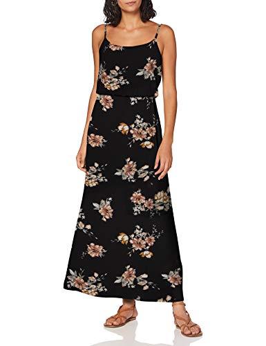 ONLY Damen Onlnova LUX S/L Maxi Dress AOP WVN 10 Kleid, Black, 36