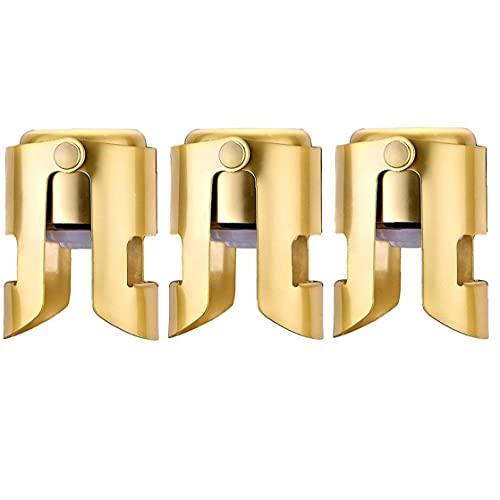 Sanfiyya Acero Inoxidable champán tapón del Vino espumoso de sellador a Prueba de Fugas 3pcs Plug Ahorro de Oro