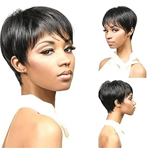 Perruque Femme Courte Noir, Cheveux humains des Perruques pour Femme Noire Cheveux Courts Perruque Pixie avec des Perruques pour Femme Côté Frange (25-33 cm)