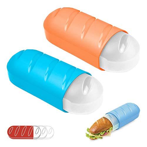 PracticFood pudełko na bułki, idealny pojemnik, aby utrzymać świeżość kanapek, bez konieczności wygniatania ich w torbie lub w plecaku (2 pudełka w kolorze niebieskim i pomarańczowym)