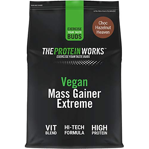 THE PROTEIN WORKS Vegan Mass Gainer Extreme | High Calorie Protein Powder | Weight Gainer | Vitamins & Minerals | Choc Hazelnut Heaven | 2 kg