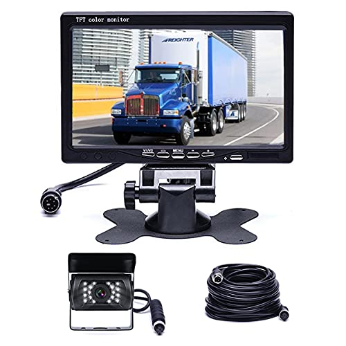"""Hikity Backup Camera and Monitor Kit, Waterproof 18 IR LED Night Vision Reverse Camera + 7"""" Rear View Monitor Vehicle Parking System for RV Bus Trailer Truck (65ft 4-Pin Aviation Video Cable)"""