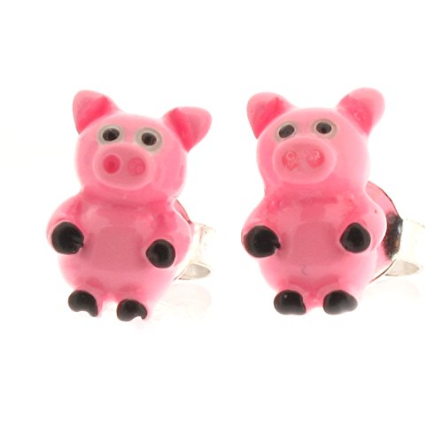 Touch Jewellery 925 Sterling Silver and Resin Pink Pig Stud Earrings