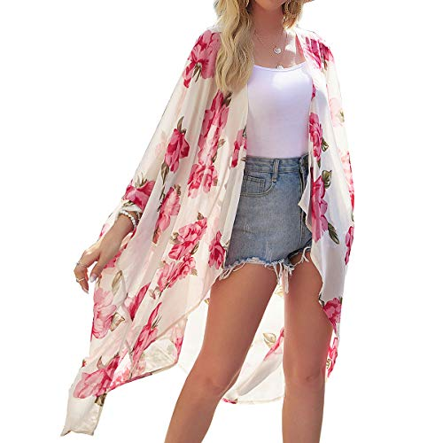 copricostume donna 4 YONHEE Cardigan Donna in Chiffon - Lungo Kimono Donna Copricostume Donna Mare Kimono Bikini Kimono Estivo Donna Copricostume Mare Donna per Mare Party Vacanze (Giallo Chiaro