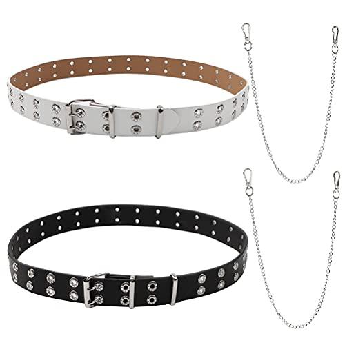 2 Piezas Cinturón Punk con Cadena para Mujeres y Hombres, Cinturones De Remache Ancho Doble Agujero de la PU de la Correa de Cintura Retro Ajustable Cinturón de Jeans con Ojales (blanco y negr