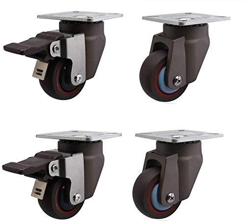 Mobile Caster Casters 4 PCS 2 Inches Heavy Duty Möbel Gummi Castor Räder Universalschwenkbremse 50mm 200kg Schweigen Trolley Showcase Schwarz Langzeiteinsatz Ebene Stellrad, Universal + Univers Aktivi