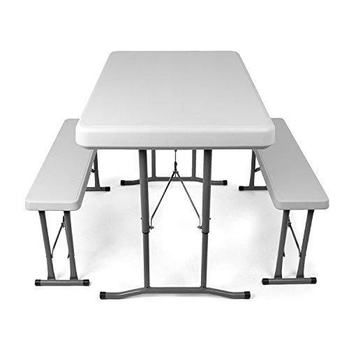 Vanage - Ensemble de Bancs / Table de Brasserie - Pliant et transportable - 113 x 68 x 72 cm - Parfait pour le Jardin et le Camping