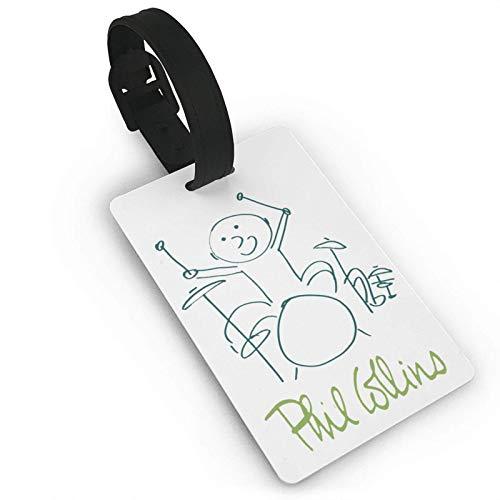 Etiquetas de cuero con logotipo de Phil Collins, etiquetas de equipaje para maleta, identificadores de viaje