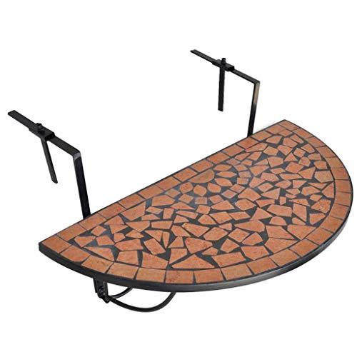 HUANGDANSP Mesa de balcón Colgante de Mosaico Terracota Mobiliario Muebles de jardín Mesas de jardín