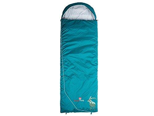 Grüezi-Bag Biopod Wolle Decke Goaß Links, 225x80cm, Schlafsack, Ripstop 100% Nylon, Nylon-Woll-Füllung, Fußbereich 80cm, ca. 1400g, in Dark-Petrol