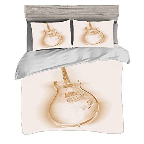 Bettwäscheset Doppelte Größe (200 x 200 cm) mit 2 Kissenbezügen Jazz Music Decor Mikrofaser-Bettwäsche-Sets Grafik der E-Gitarre auf einfachem Hintergrund-modernem Hobbys-Rock-Pop Jazz Decor,Creme Ecr