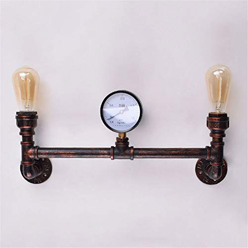 XZYP Industrieller Steampunk LED-Schreibtischlampe, Rost Eisen Wasserrohr-Schreibtisch-Tabellen-Lampen-Licht mit rotem Ventilgriff Schaltern und Grün Hahn
