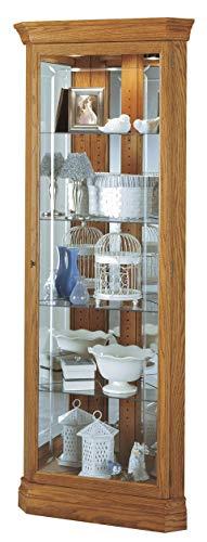 Howard Miller Hammond Corner Curio Cabinet 680-347 – Golden Oak Finish, Vertical Home Decor, Four Glass Shelves, Five Level Display Case, No Reach Light