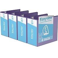 Easyview プレミアム アングルDリング カスタマイズ可能 ビューバインダー 6個パック (5インチ パープル)