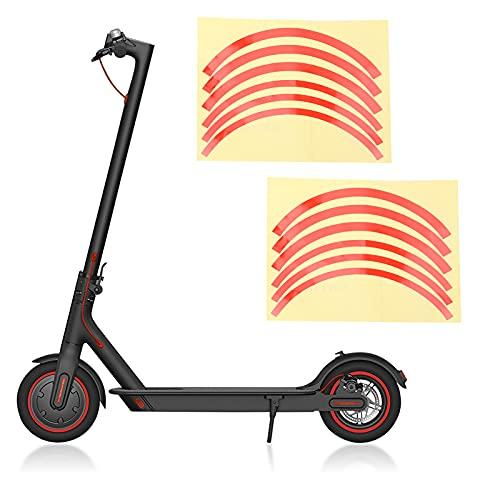 KAKAKE Pegatina Reflectante de Scooter, Buen Efecto de reflexión, Fuerte practicidad, Cubierta de Rueda de Scooter eléctrico para conducción Nocturna(Red)