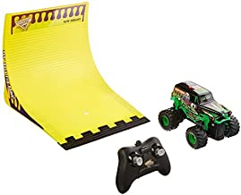 New Bright R/C F/F 4x4 Monster Jam Grave Digger with 360 Flip Ramp Set (1:43 Scale), Black by New Bright