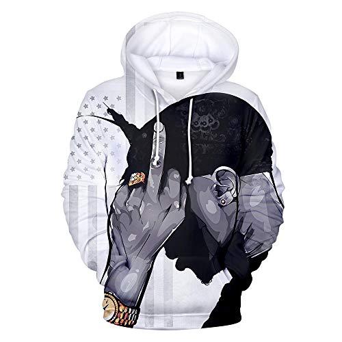 LALLing Herren 2pac Tupac Hoodie Baumwolle Hooded Sweatshirt Langarm Kapuzen-Pullover Hochwertiges Crew Neck Kapuzenshirt