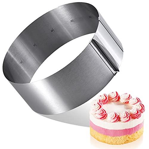 Anello per torta regolabile, robusto sostituzione della forma a molla, molto adatto per la produzione di torte, molto adatto per cambiare le dimensioni della torta. La lunghezza è di 6-11 pollici.
