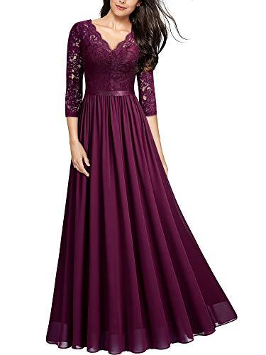 MIUSOL Abendkleider Damen Elegant Vintage Hochzeit Spitze Chiffon Faltenrock Prom Langes Kleid Magenta XXL