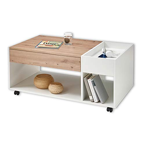 Emil - Mesa de café con Ruedas en Aspecto de Roble Artisan, Color Blanco, Mesa de sofá portátil con Estante y cajón para tu salón - 110 x 44 x 60 cm