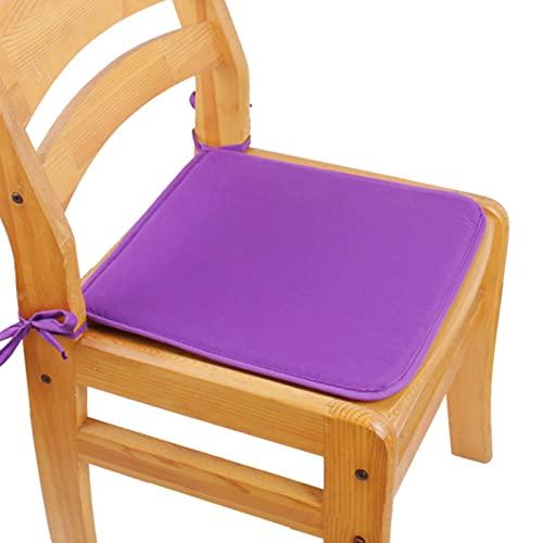 RAILONCH Juego de 4 cojines de asiento, 40 x 40 cm, en muchos colores, cojines acolchados para silla para comedor, jardín, cocina, oficina (morado)