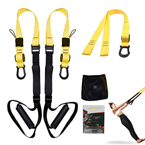 UONNER Suspension Trainer Kit Sling Training Strap System Perfect for Travel and Working Out Indoors & Outdoors