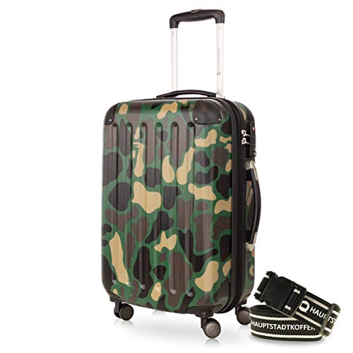Hauptstadtkoffer - Spree Hand Luggage Cabin Trolley Cabin Luggage Hard Case Very Light TSA 55cm 42L Camouflage + Luggage Strap