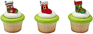 Festive Christmas Stockings Decorative Cupcake Topper Rings - Pack of 24