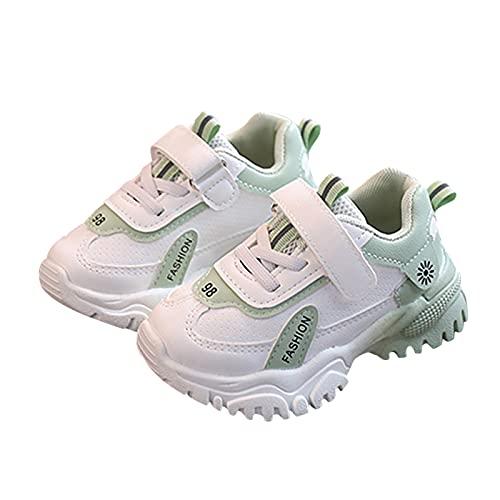 Dinnesis Zapatos de bebé para niños pequeños, niñas, jóvenes, con cierre de velcro, de malla, antideslizantes, de piel suave, zapatos de aprendizaje, zapatillas deportivas, verde, 24 EU