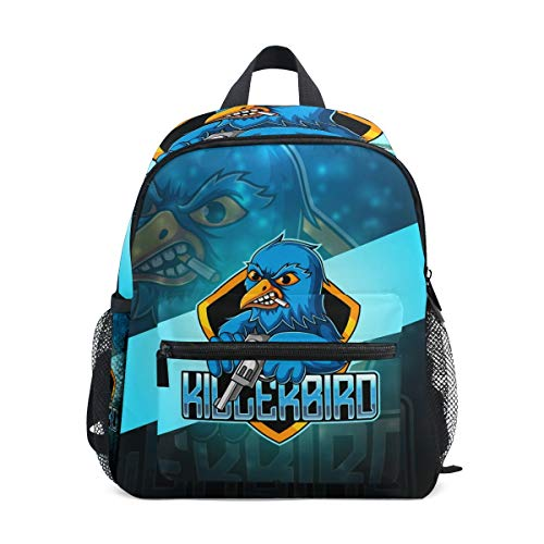 Blue Gun Bird Eagle Toddler Backpack Bookbag Mini Shoulder Bag for 1-6 Years Travel Boys Girls Kids with Chest Strap Clip Whistle