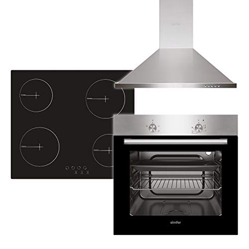 Simfer Juego de cocina empotrable con campana extractora, horno + placa de cocción + campana extractora, 60 cm, 3 funciones, manejo táctil, 4 zonas, doble acristalamiento e iluminación